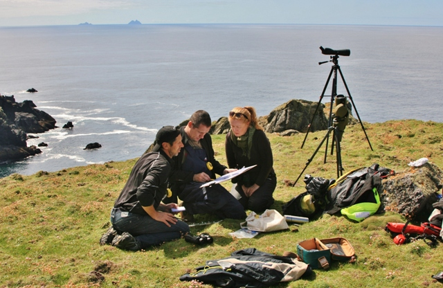 Nick Massett with local IWDG members preparing a watch at Slea Head